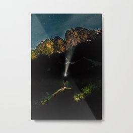 Starry Mountain Explorer Metal Print