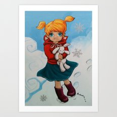 Boots & Bunny Art Print