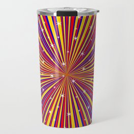 Red Yellow Blue And Rays Background With Stars Travel Mug