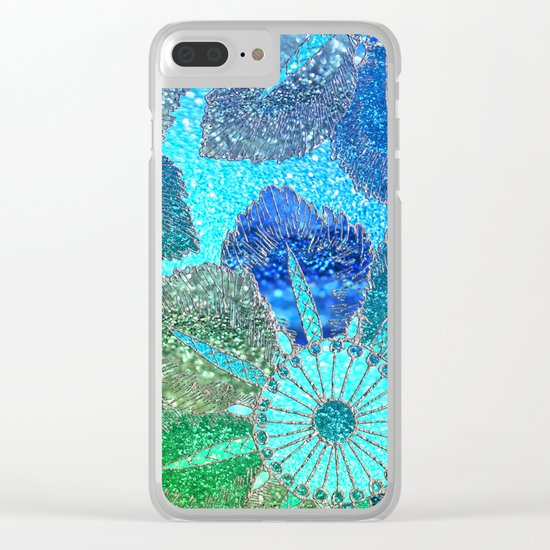 Aqua Green and Blue Glitter Flowers on #Society6 Clear iPhone Case