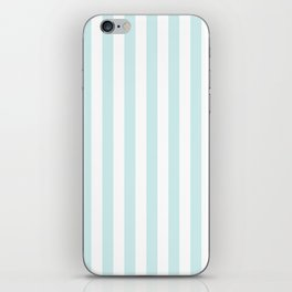 Narrow Vertical Stripes - White and Light Cyan iPhone Skin