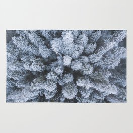 Snowy Trees from Above Rug