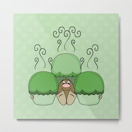Cute Monster With Green Frosted Cupcakes Metal Print
