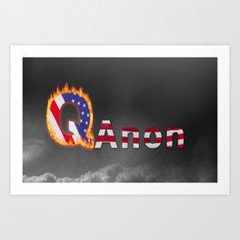 Q  or QAnon conspiracy icon on dark sky Art Print