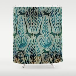 Palm Leaves w Cat_Green_1 Shower Curtain