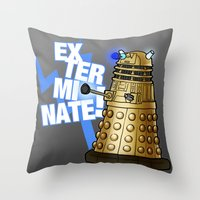 dalek Throw Pillows featuring Dalek by StudioMarimo