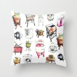 Vintage and modern washing machines Throw Pillow