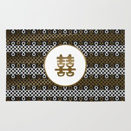 Double Happiness Symbol on Endless Knot pattern Rug
