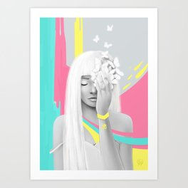 Om Girl Meditation Art Print
