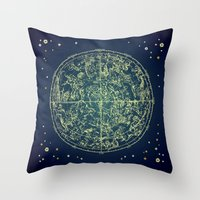 zodiac Throw Pillows featuring Zodiac Star Map by From Flora With Love