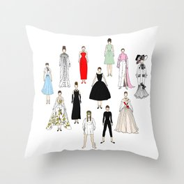 Audrey Fashion Whimsical Layout Throw Pillow