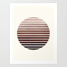 Raw Sienna Mid Century Modern Minimalist Scandinavian Colorful Stripes Geometric Pattern Round Circl Art Print