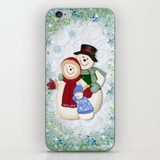 Snowman and Family Glittered iPhone & iPod Skin