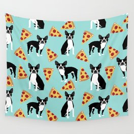 boston terrier pizza dog lover pet gifts cute boston terriers pure breeds Wall Tapestry