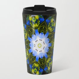 Kaleidoscopic Mandala Baby Blue Eyes Flower Travel Mug
