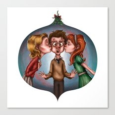 Boy's Mistletoe Surprise Canvas Print