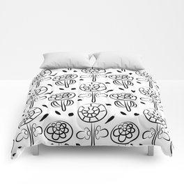Pattern in Nordic Floral Style #7 Comforters