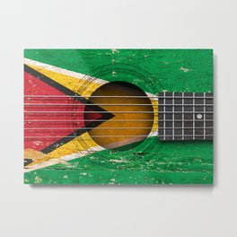 Old Vintage Acoustic Guitar with Guyanese Flag Metal Print