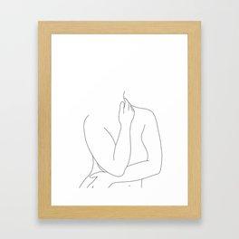Nude figure line drawing - Eila Framed Art Print