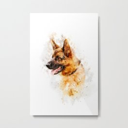 German Shepherd watercolor Metal Print