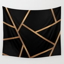 Black and Gold Fragments - Geometric Design Wall Tapestry