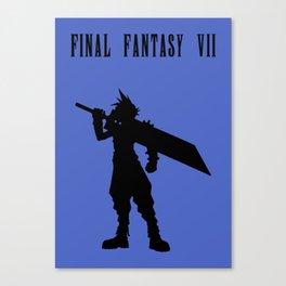 Cloud Strife Silhouette Minimal (Black) - Final Fantasy VII Canvas Print