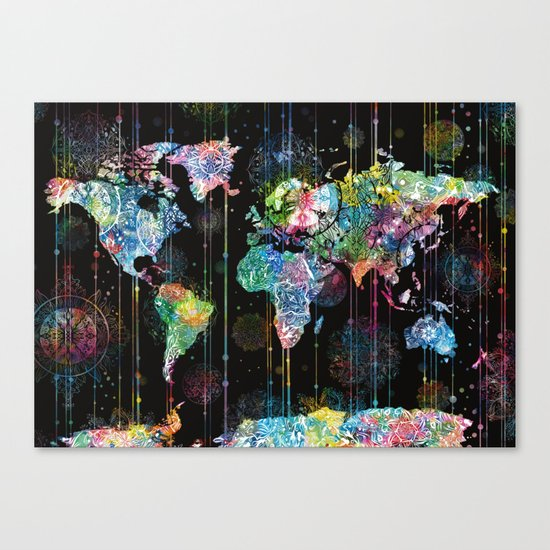 world map mandala black 1 Canvas Print