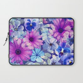Dark pink and blue floral pattern Laptop Sleeve