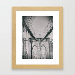 Brooklyn bridge, architecture, vintage photography, new york city, NYC, Manhattan view Framed Art Print