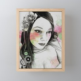Treasure (young cute girl, magnolia & mandalas) Framed Mini Art Print