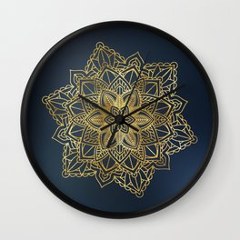 Golden Mandala Art Wall Clock