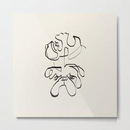 Abstract line english bulldog Metal Print