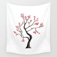 sakura Wall Tapestries featuring Sakura by adovemore
