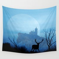 stag Wall Tapestries featuring Stag moon by pinopics