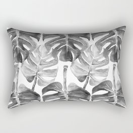 Black Monstera leaves Rectangular Pillow