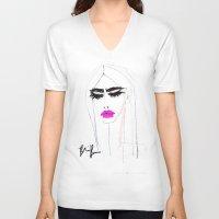 watermelon V-neck T-shirts featuring watermelon by BlondeLasagna By Blair Breitenstein