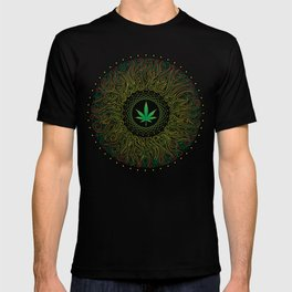 Magic plant. Marijuana leaf. mandala T-shirt