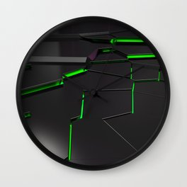 Black fractured surface with green glowing lines Wall Clock