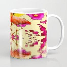 TROPICAL FLAMINGOS FUCHSIA FLORAL MOON ART Coffee Mug