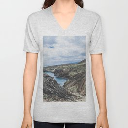 Travel mountain and ocean landscape, Madeira / wanderlust fine art print Unisex V-Neck