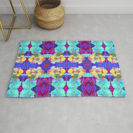 Fluorescent Watercolor Iris Art - Purple & Aqua Blue Rug