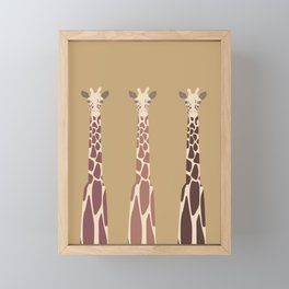 Triple Giraffes Framed Mini Art Print