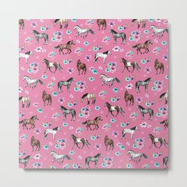 Pink Horse Print, Hand Drawn, Horses and Flowers, Girls Room, Metal Print