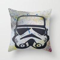 trooper Throw Pillows featuring Trooper by Cyndi Sabido