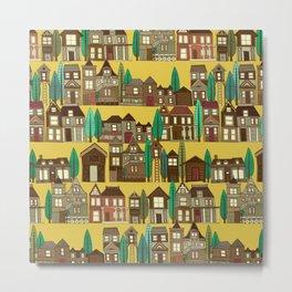 wooden buildings yellow gold Metal Print