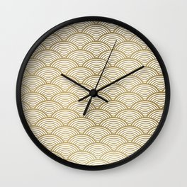 Japan Print: Seigaiha Wave, Japanese Motif, Blue Seas and Waves in Gold,  Wall Clock