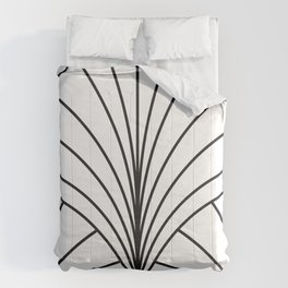 Round Series Floral Burst Charcoal on White Comforters
