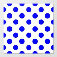 polka dots Canvas Prints featuring Polka Dots (Blue/White) by 10813 Apparel