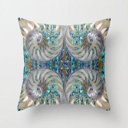Blue-Green Grey Nautilus Shells Modern Abstracted Art Pattern Throw Pillow