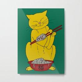 Cat eats mouse noodles  Metal Print